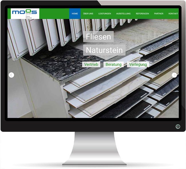 geon | Referenzwebsite mit Suchmaschinenoptimierung (Seo) | Fliesen Moos